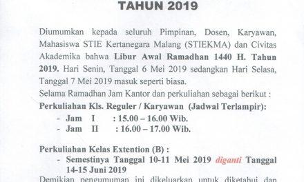 Pengumuman Libur Awal Puasa 2019